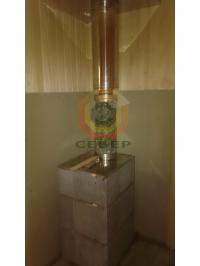 Установка банной печи Куткин в талькохлорите и дымоходной системы Вулкан