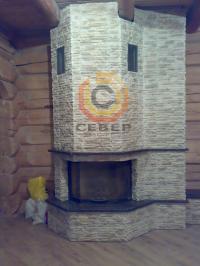 Воздушное отопление дома на базе французского камина Richard Le Droff с удлинённой полкой