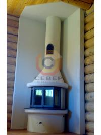 Угловая установка литой чугунной каминной топки Keddy