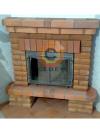 Воздушное отопление дома на базе каминной топки Keddy с угловым кирпичным порталом
