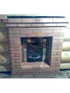 Установка банной печи Kastor c кирпичным  каминным порталом