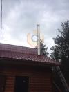 Монтаж дымоходной системы Вулкан из нержавеющей стали и установка растяжек на кровле здания