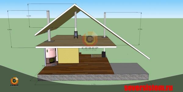 Эскиз трёх стальных дымоходов в загородном доме