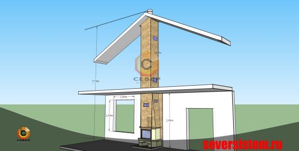Проектирование камина для отопления загородного деревянного дома